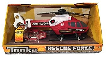 juguete tonka fuerza de bomberos de rescate helicóptero roj