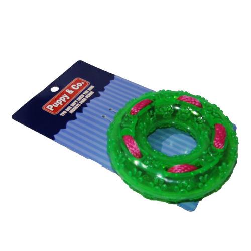 juguete tpr aro translúcido con cordón y textura de huellita
