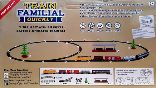 juguete tren a pila sonido luz 29vias 1 locomotora 4 vagones