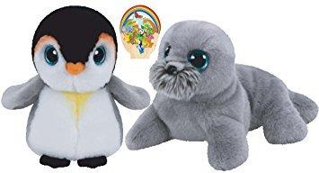 juguete ty beanie beabies sea lion wiggy y el pingüino pong