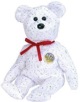 juguete ty beanie bebé - década el oso (white version)