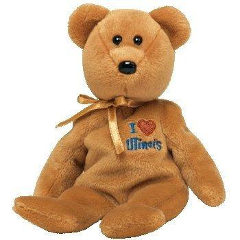 juguete ty beanie bebé - illinois el oso (amor illinois i -