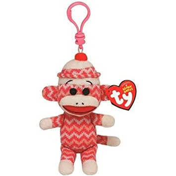 juguete ty beanie bebé - mono del calcetín zig-zag clip