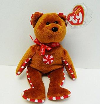 juguete ty beanie bebé - peppermint el oso (oro del sello e