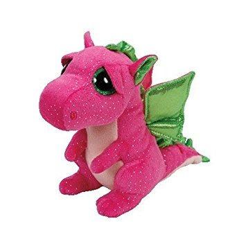 juguete ty darla dragón felpa, rosa, medio