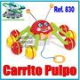 Juguet Carrito Pulpo + Tira Para Llevarlo Estimulacion Niños