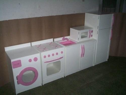 Juguetes de madera para ni os cocina nevera lavadora - Muebles de juguete en madera ...