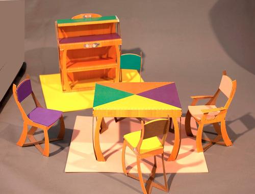 juguetes didácticos, muebles de cartón para armar y jugar