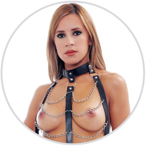juguetes sadomasoquismos body cuero cadenas conjunto sexshop