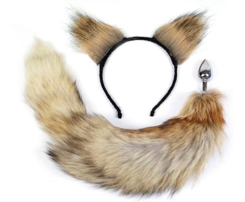 juguetes sexuales plug anal cola de zorro con orejas