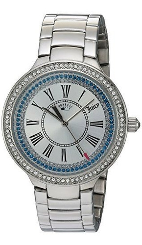 juicy couture - reloj de pulsera de acero inoxidable y