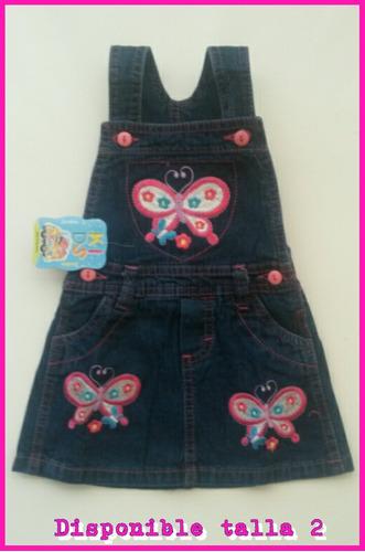 jumper en jeans con bordados al frente  para niñas.