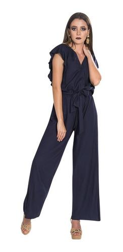 jumpsuit dama palazzo mujer cruzado perlas azul w83117