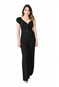 gran selección de 838d9 561e8 Jumpsuit Palazzo Negro Sexy Elegante Para Fiesta Mujer Dama