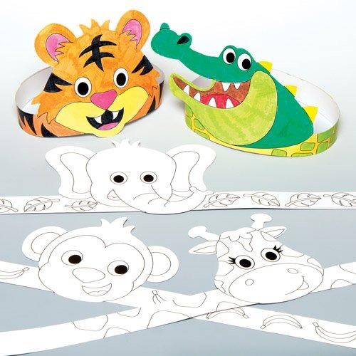 Jungle Animal Color-in Coronas Para Niños Para Personalizar ...