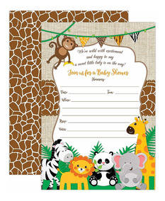 Jungle Safari Baby Shower Invitaciones Safari Animal I