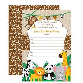 Jungle Safari Baby Shower Invitaciones Safari Animal Invitat