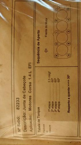 junta cabeçote corsa/sedan/wagon 1.4 efi sabó 82233