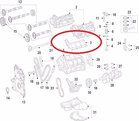 junta cabeçote esquerdo mercedes r350 2010-2012 original