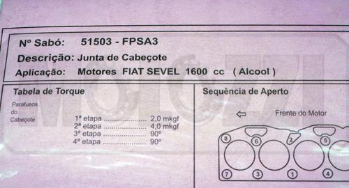 junta cabecote fiat 1600 89/ argentino - alcool