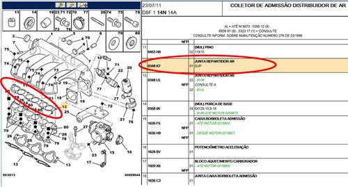 junta coletor de admissão peugeot 406 2.0 16v original