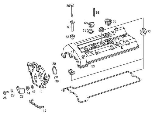 junta da tampa de válvulas mercedes coupé 320 ce 1992 a 1993