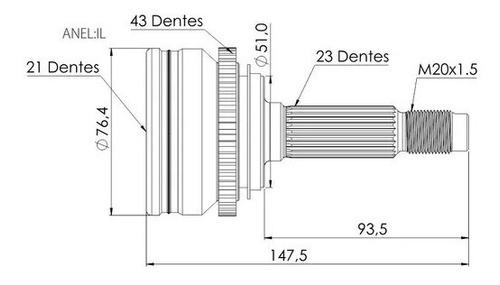 junta homocinetica chery face s18 1.3 16v abs trava interna