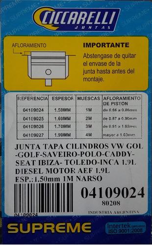junta tapa de cilindros vw 1.9 diesel ciccarelli