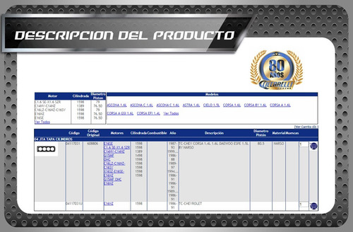 junta t.cilindro chevrolet corsa- astra 1.4l 1.6l 1.5l 8v