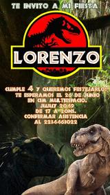 Jurassic Park Tarjeta Invitación Digital Imprimible Whatsapp