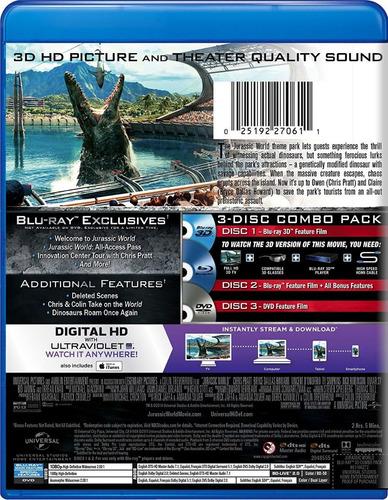 jurassic world 3d+ blu ray+ dvd+ nuevo importado 2018