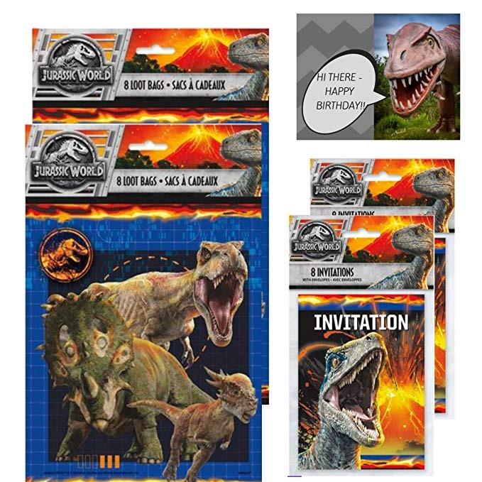 Jurassic World Bolsas Regalo Y Tarjetas Invitación 16 Unida