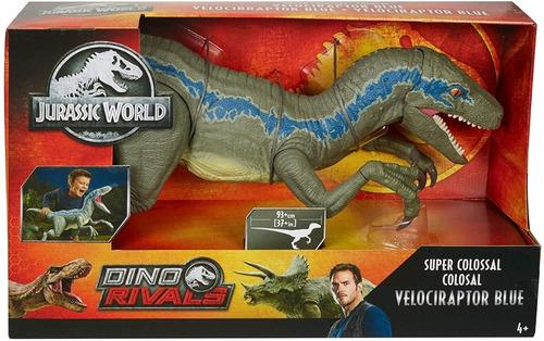 jurassic world super colosal velociraptor blue 45 cm