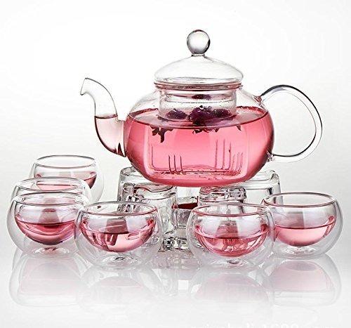 N//E Tetera transparente resistente al calor Tetera de cristal con infusor de caf/é flor de t/é herbal de 250 ml duradera
