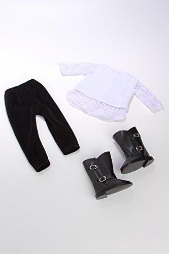 just divertido traje 3 piezas blusa blanca leggings negros y