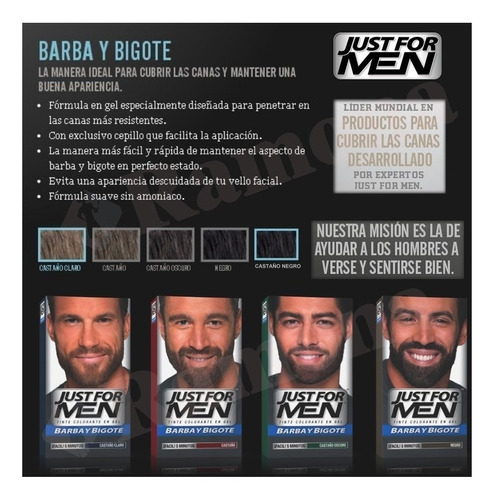 just for men colorante barba y bigote cubre canas pack 6un