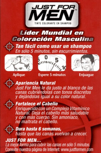 just for men colorante en shampoo cubre canas en 5 tonos