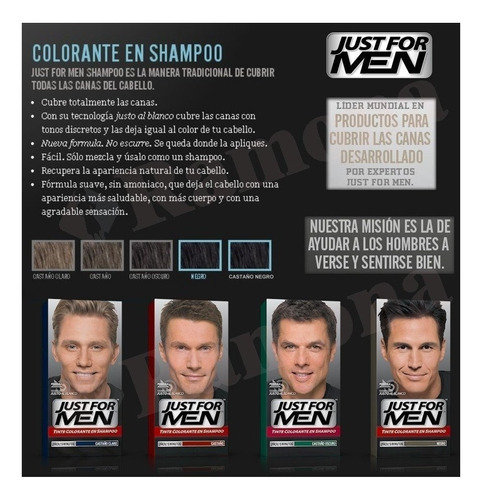 just for men colorante en shampoo cubre canas pack 3un