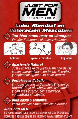 just for men tintura en shampoo cubre canas 5 tonos cabello