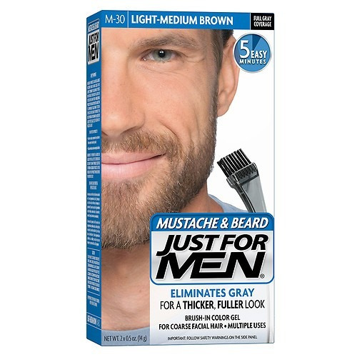 just for men tintura par barba bigote m30 light medium brown