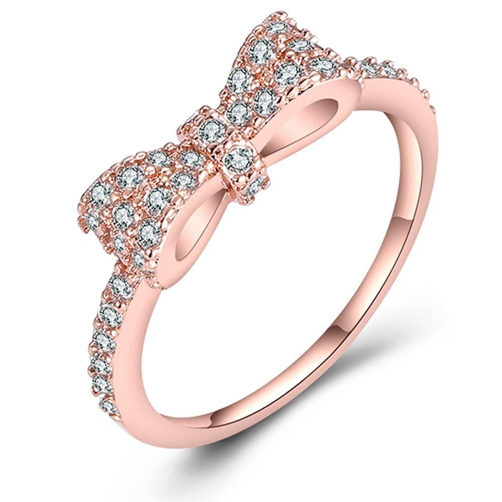envío gratis 6dfe5 04617 Just N1 18k Oro Rosa Plateado Lindo Nudo Arco Anillos De.