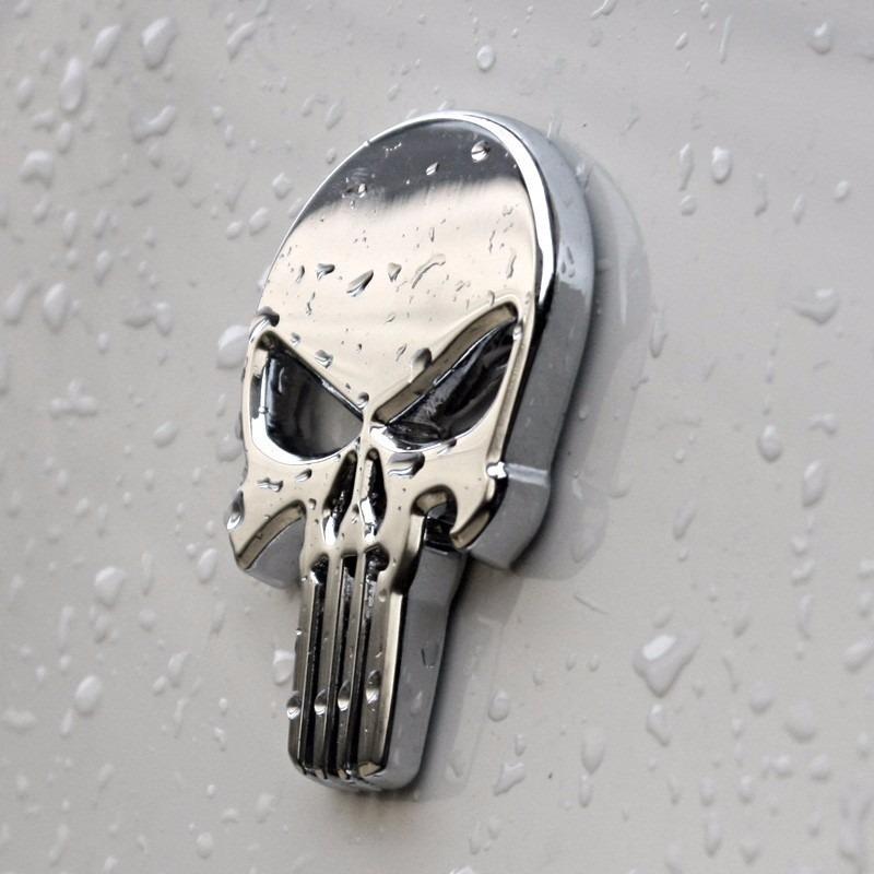 Justiceiro adesivo 3d moto punisher emblema metal cromado for Metal cromado