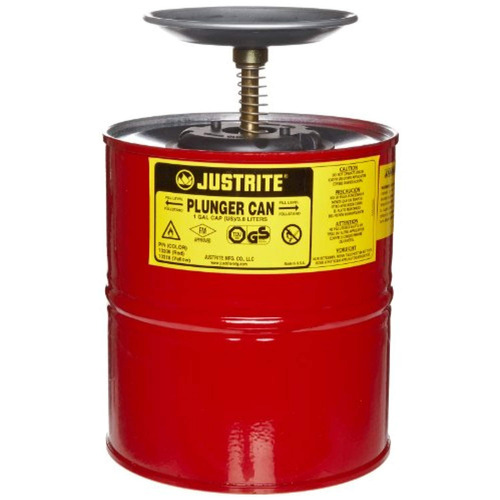 justrite 10308 red steel plunger safety can