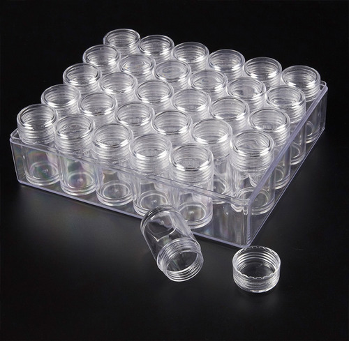 juvale plastic glitter container - 30-pack clear bead storag