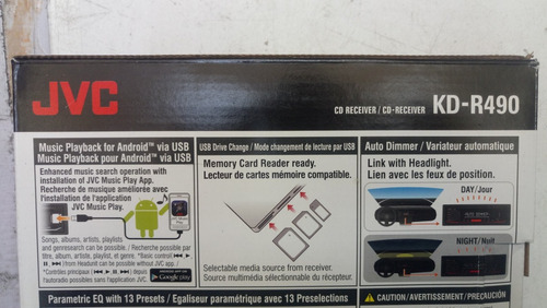 jvc autoestereo kd-r490 cd usb aux android control remoto