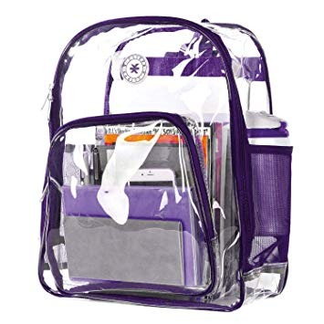 80d77f12eed5 K-cliffs Heavy Duty Clear Backpack See Through Daypack Stude
