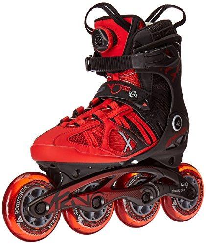 k2 skate hombres vo2 90 boa patines en línea, rojo / negro,