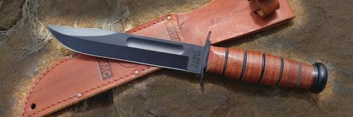 ka bar 1217 usmc - faca de combate - couro legítimo
