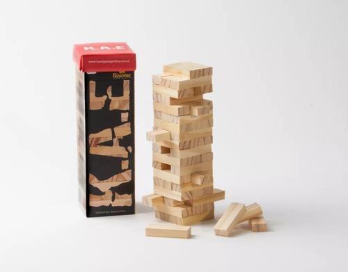 kae juego de mesa tipo jenga torre de maderas bisonte