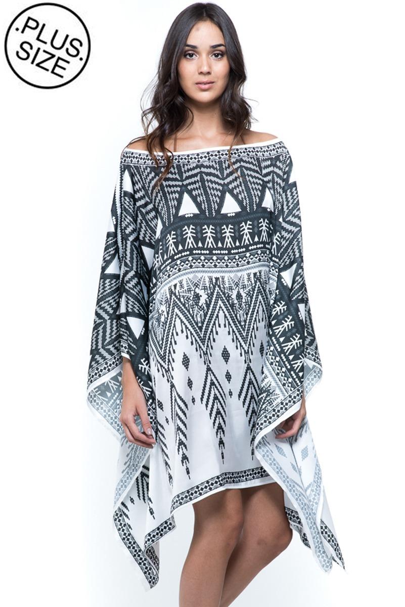 6d07c899ca0 kaftan 101 resort wear saída tribal preto branco plus size. Carregando zoom.